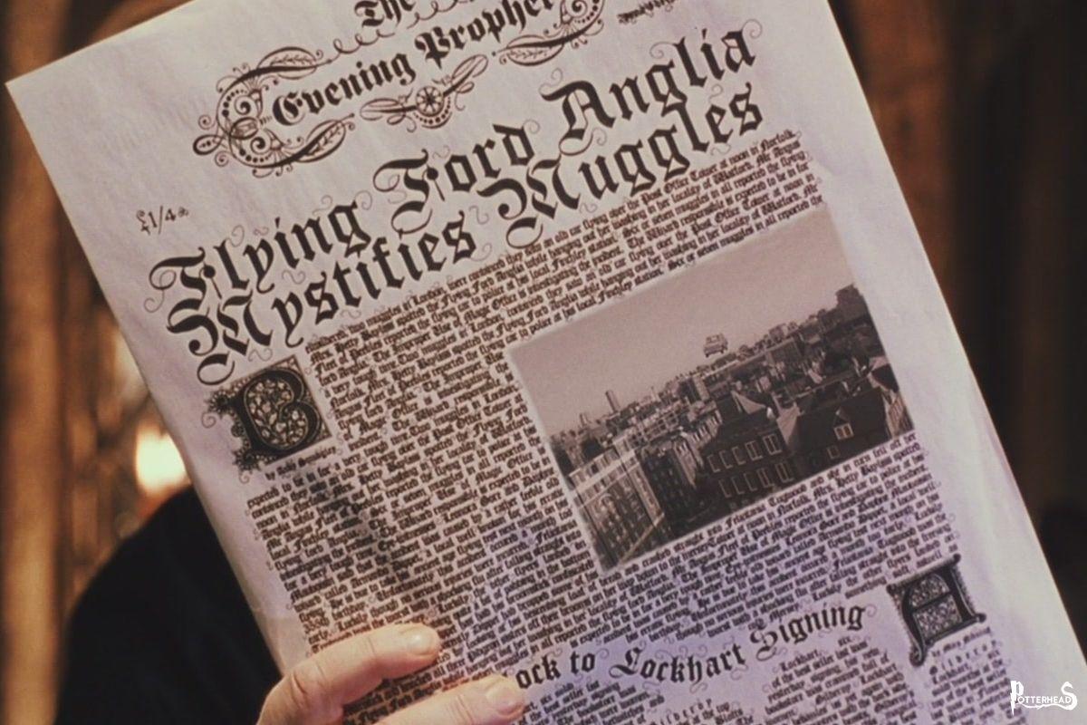 Articolo Gazzetta del Profeta 1992: Una Ford Anglia volante sconcerta i Babbani Harry Potter - PotterPedia.it