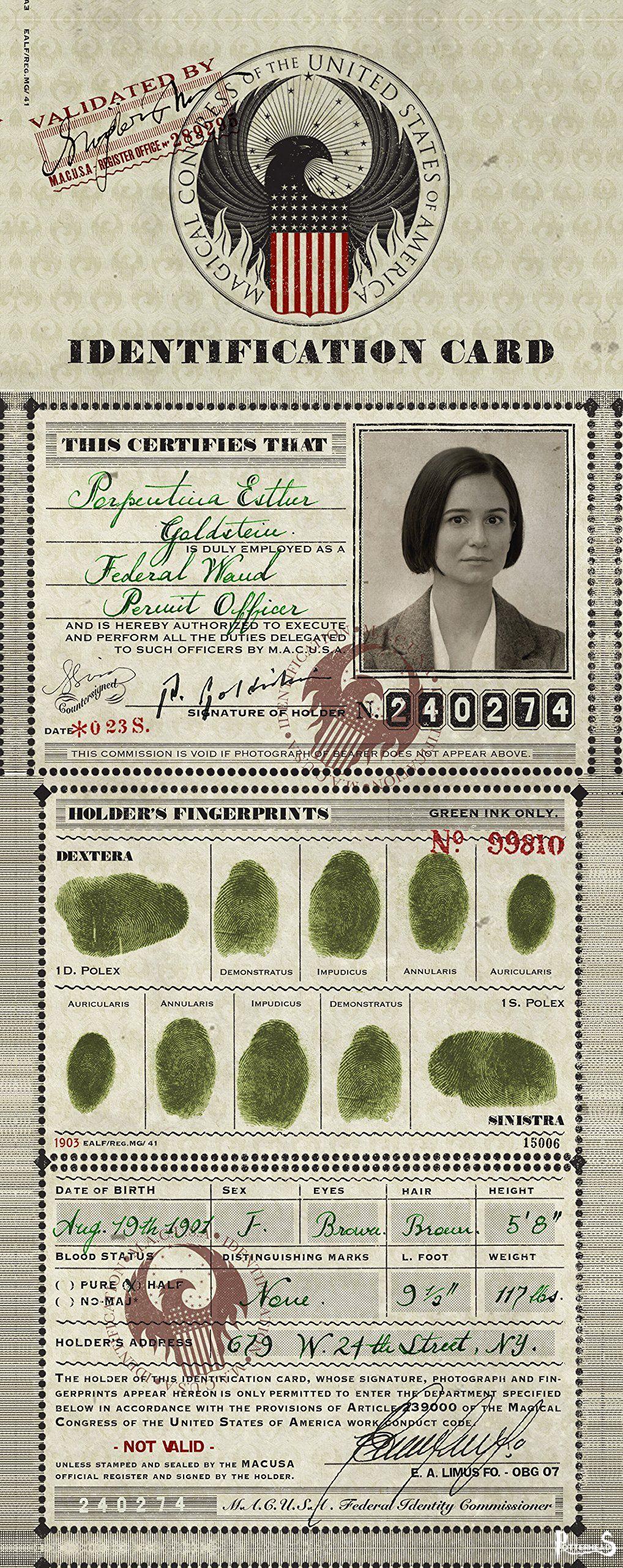 MACUSA carta d'identit� Harry Potter - PotterPedia.it