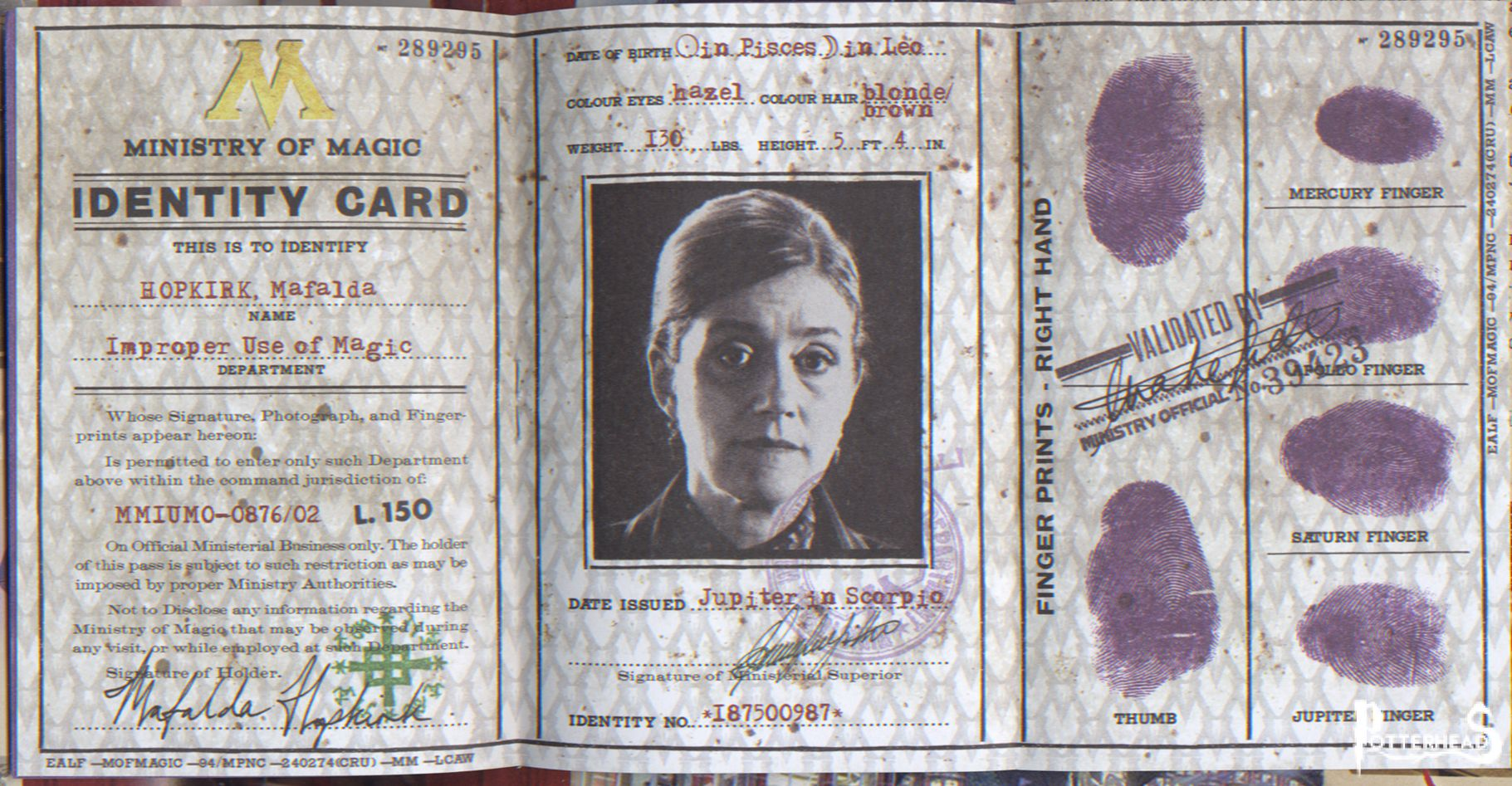 Ministero della Magia carta d'identit� Harry Potter - PotterPedia.it